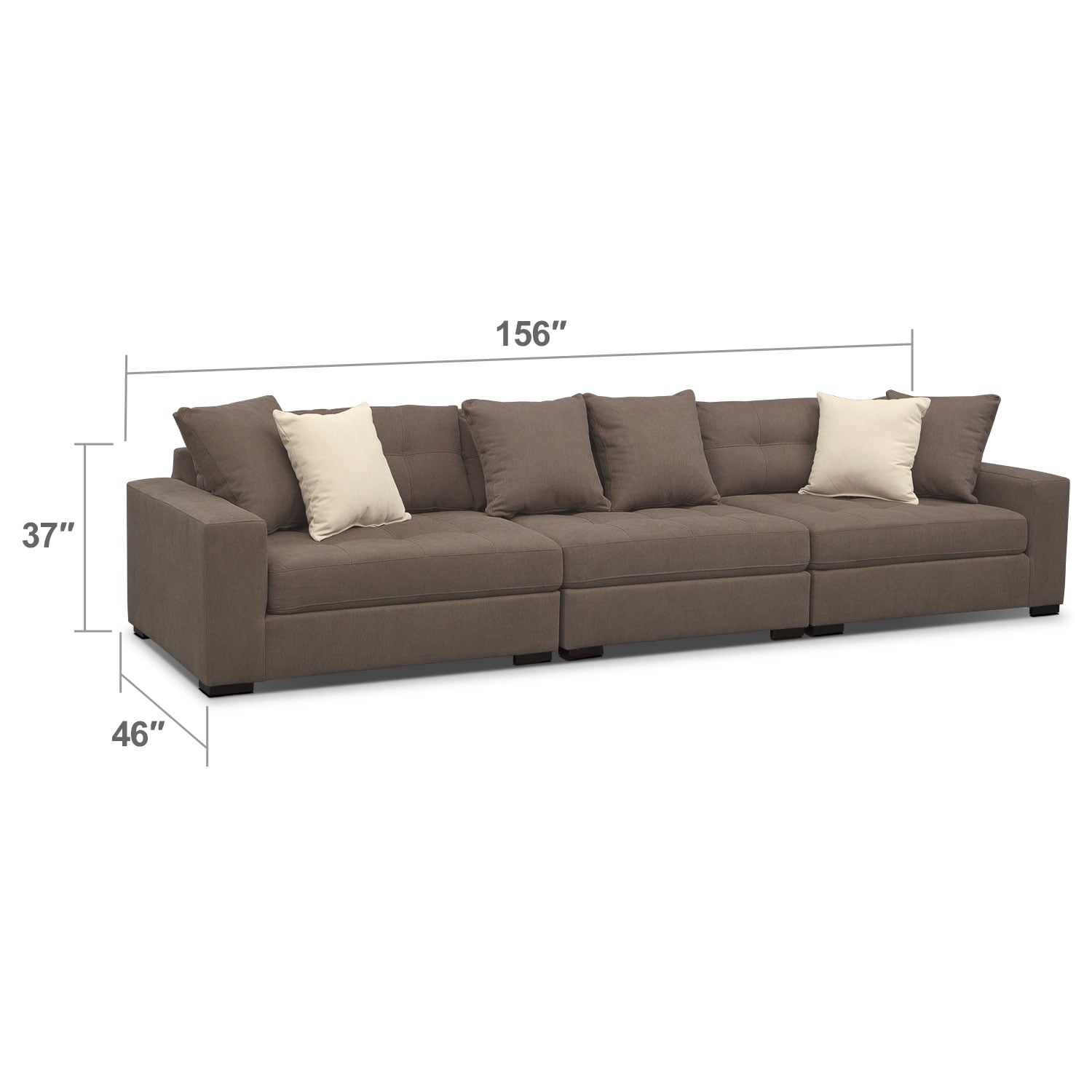 Living Room Furniture - Venti Mocha 3 Pc. Sectional