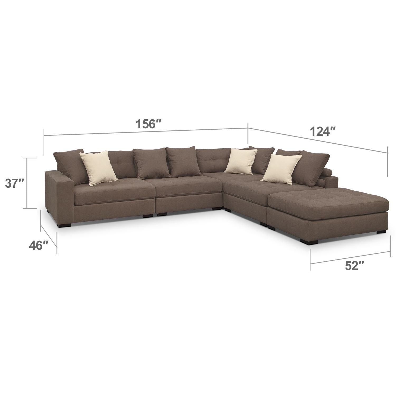 Living Room Furniture - Venti Mocha 5 Pc. Sectional w/ Cocktail Ottoman