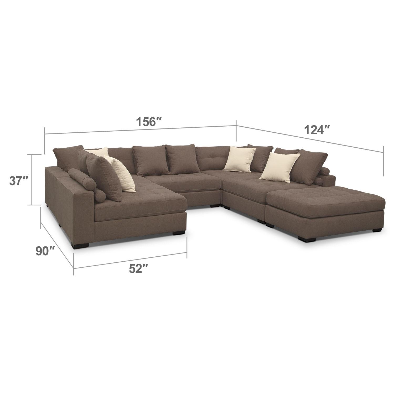 Living Room Furniture - Venti Mocha 6 Pc. Sectional