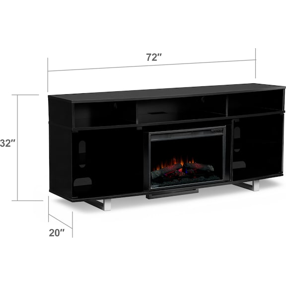 "Entertainment Furniture - Pacer 72"" Traditional Fireplace TV Stand - Black"