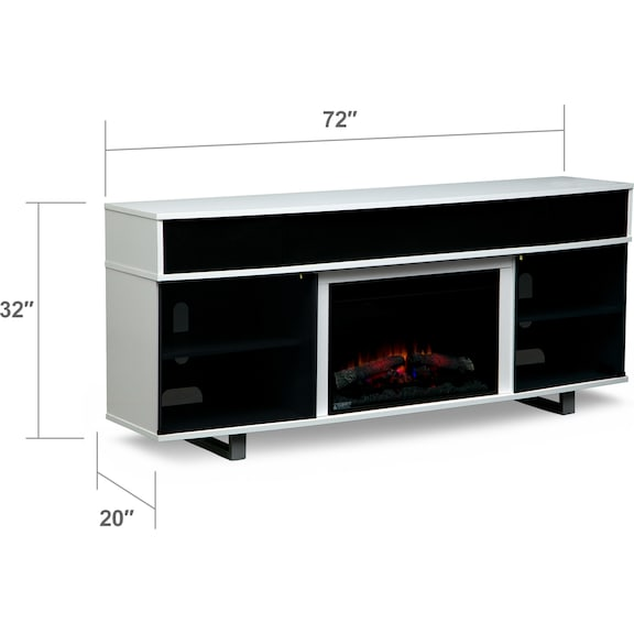"Entertainment Furniture - Pacer 72"" Traditional Fireplace TV Stand with Sound Bar - White"