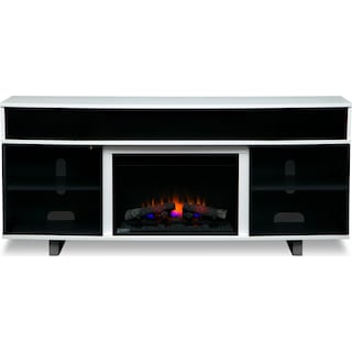 """Pacer 72"""" Traditional Fireplace TV Stand with Sound Bar - White"""