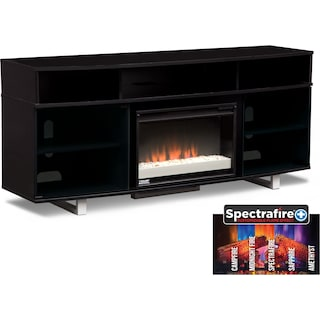 "Pacer 72"" Contemporary Fireplace TV Stand - Black"