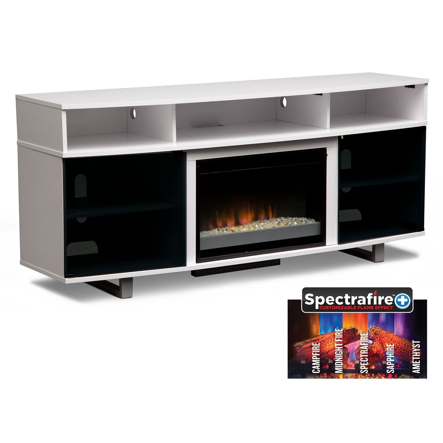 "Pacer 72"" Contemporary Fireplace TV Stand - White"