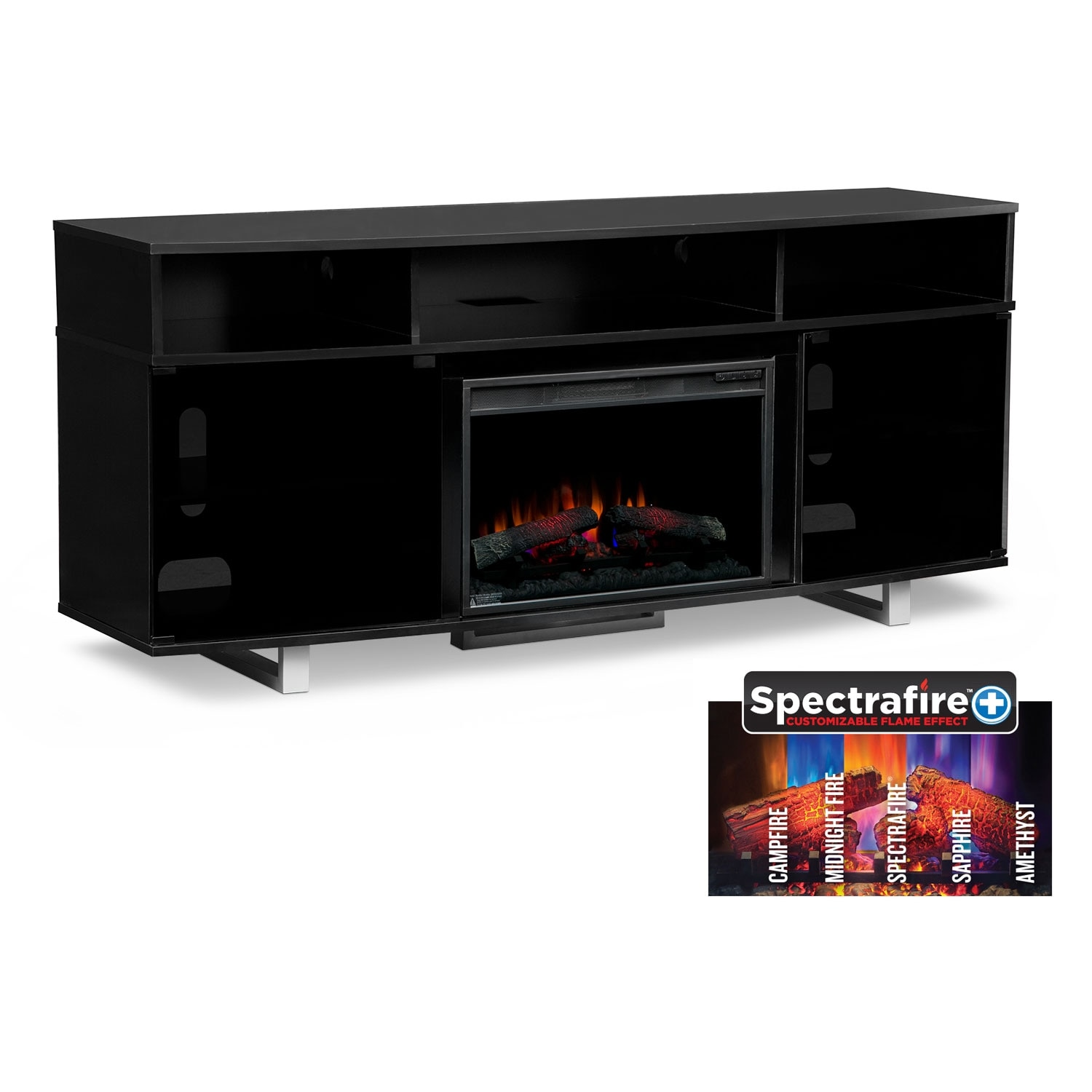 "Pacer 72"" Traditional Fireplace TV Stand - Black"
