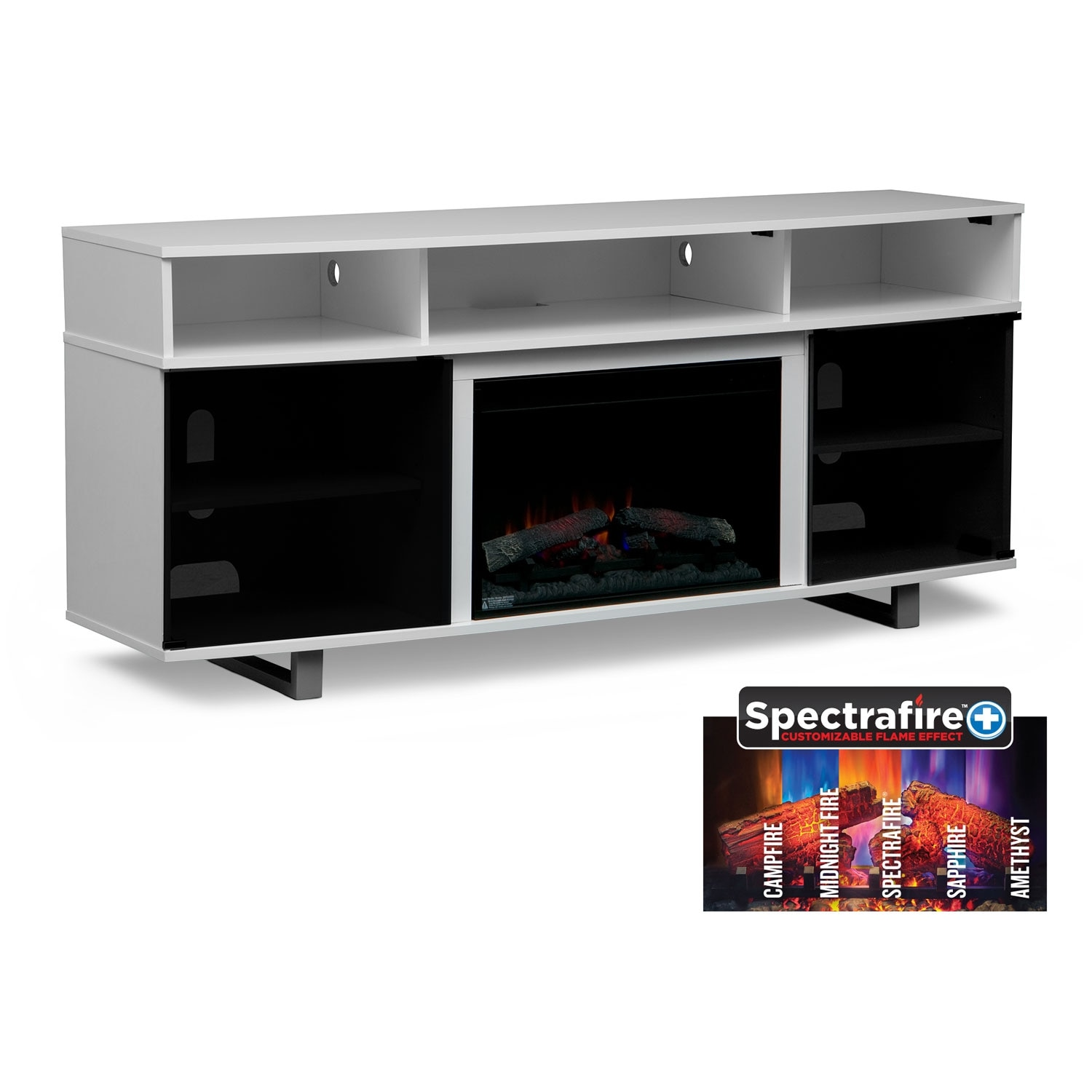 "Pacer 72"" Traditional Fireplace TV Stand - White"