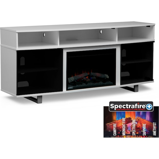 """Entertainment Furniture - Pacer 72"""" Traditional Fireplace TV Stand - White"""
