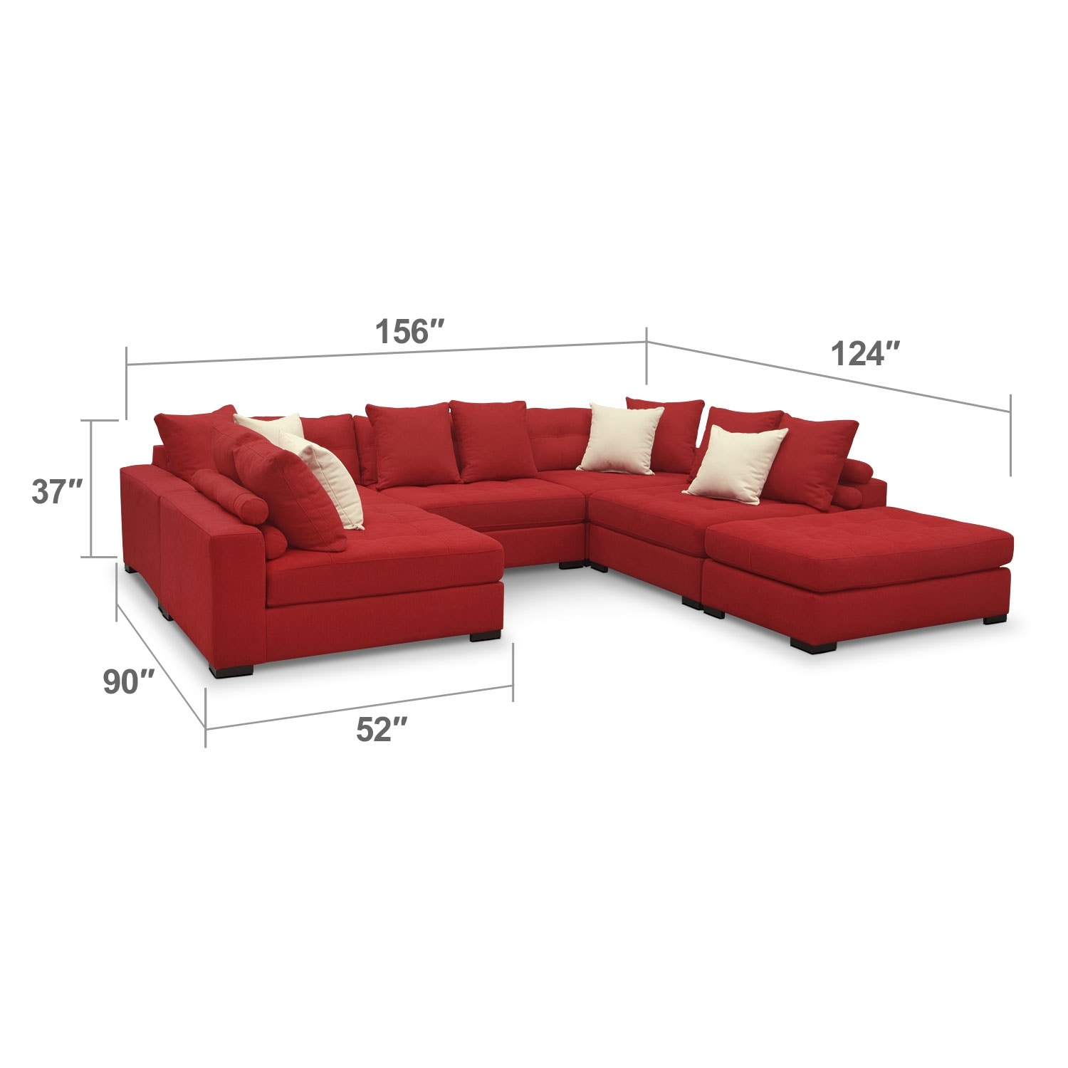 Living Room Furniture - Venti Red 6 Pc. Sectional