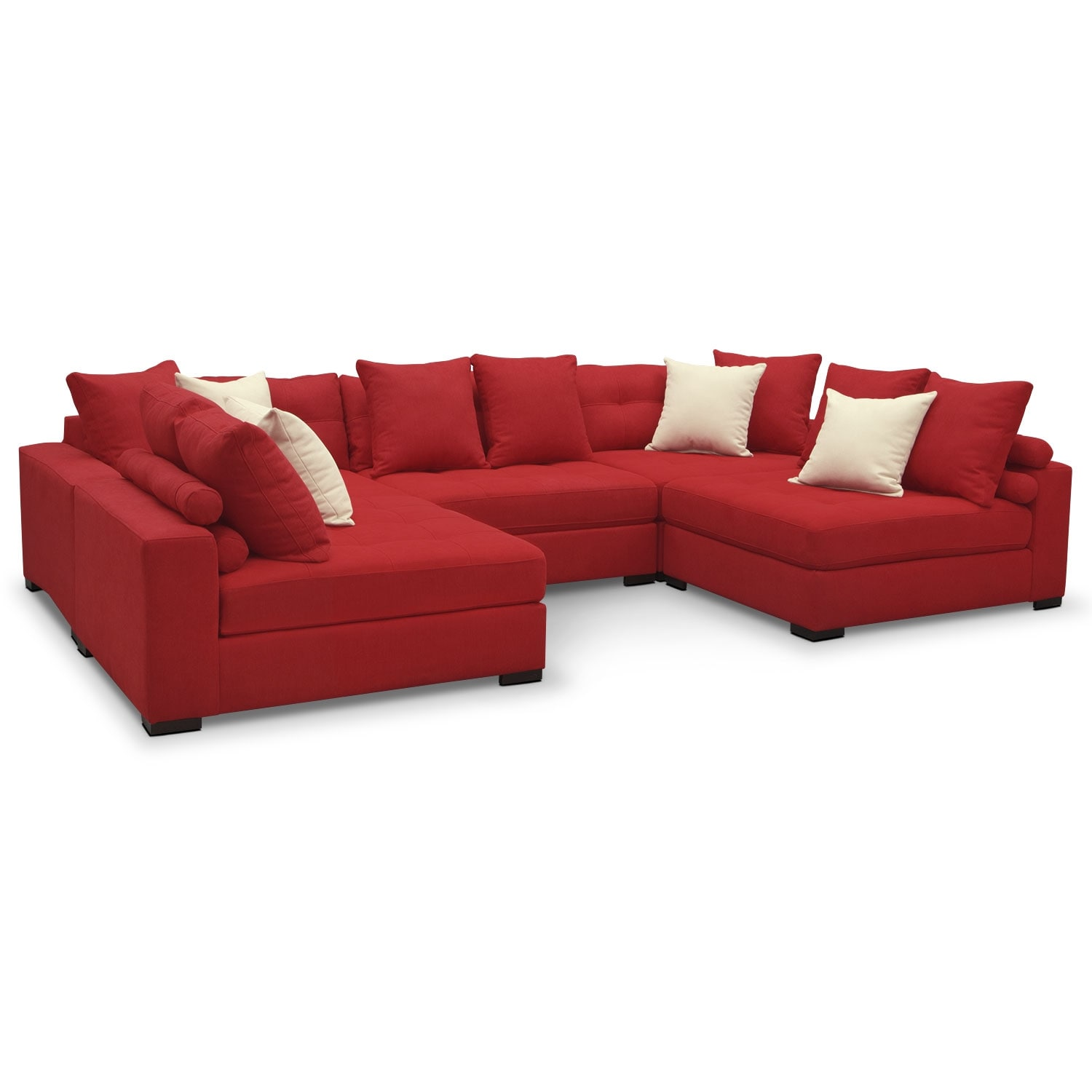 Living Room Furniture   Venti 5 Piece Sectional   Red