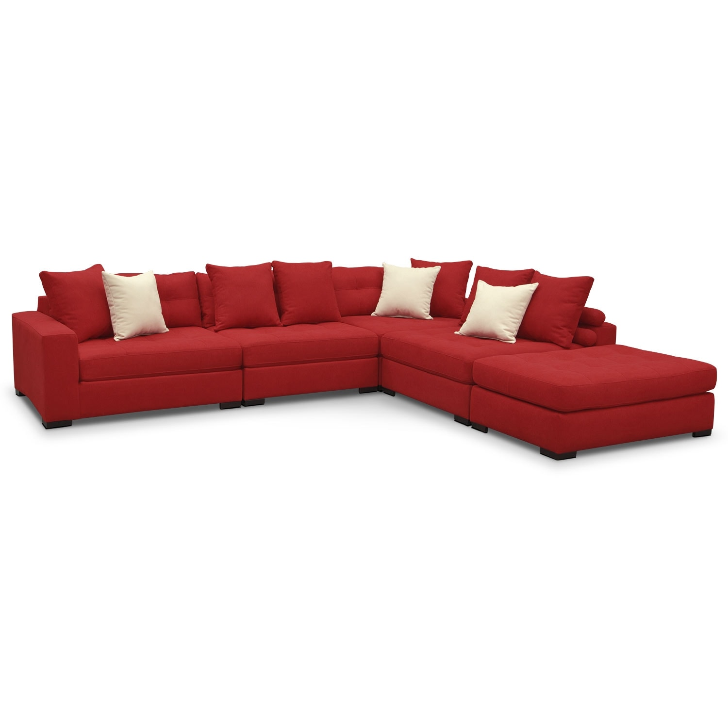 Venti 5Piece Sectional with Cocktail Ottoman Red American