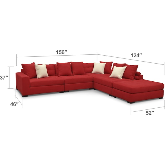 Fabulous Venti 4 Piece Sectional With Ottoman Pabps2019 Chair Design Images Pabps2019Com