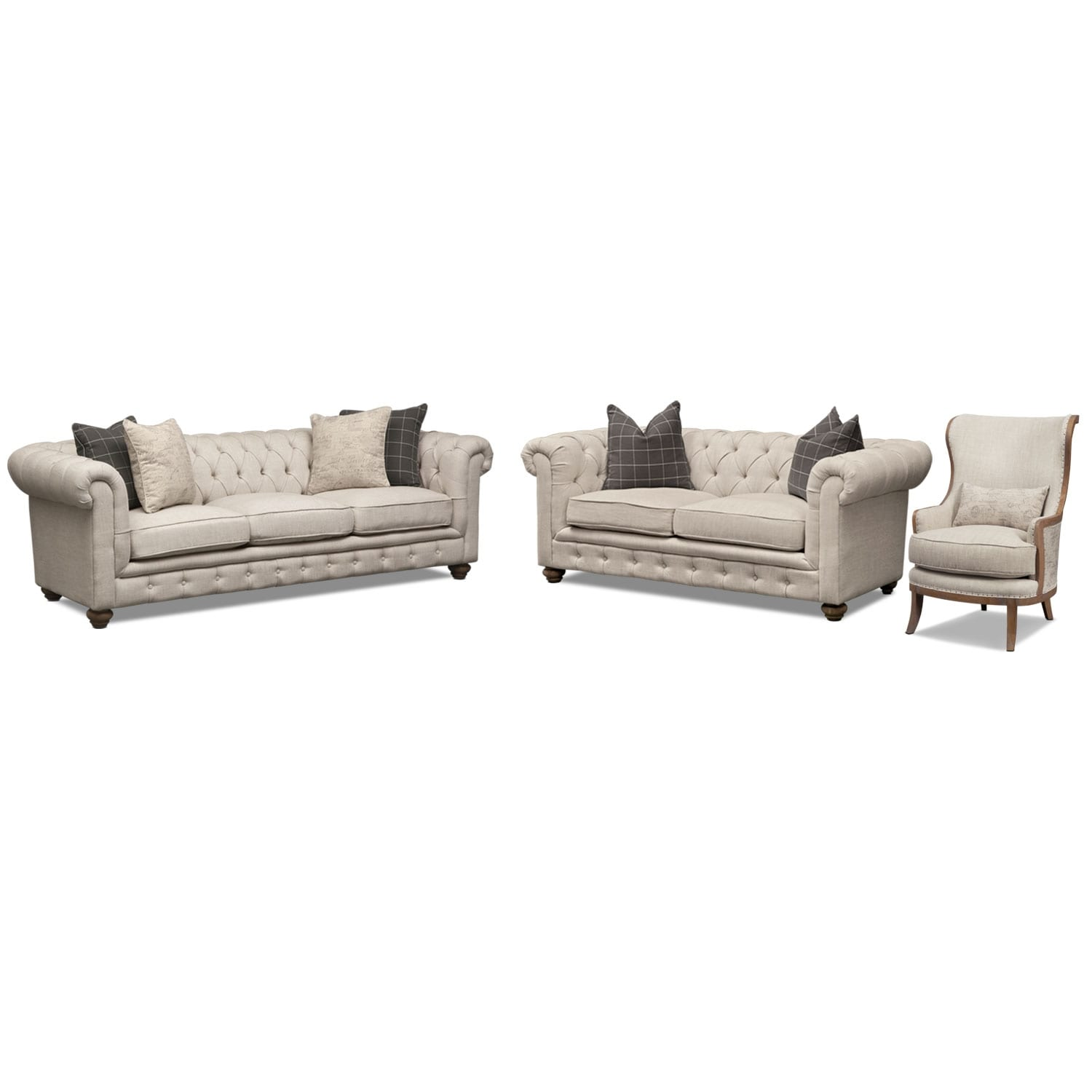 Living Room Furniture - Madeline Sofa, Loveseat and Framed Accent Chair Set - Beige
