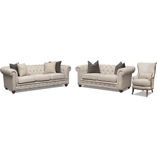 Madeline Sofa, Loveseat and Framed Accent Chair Set - Beige