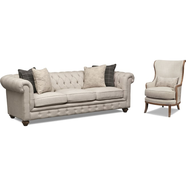 Living Room Furniture - Madeline Sofa and Framed Accent Chair Set - Beige