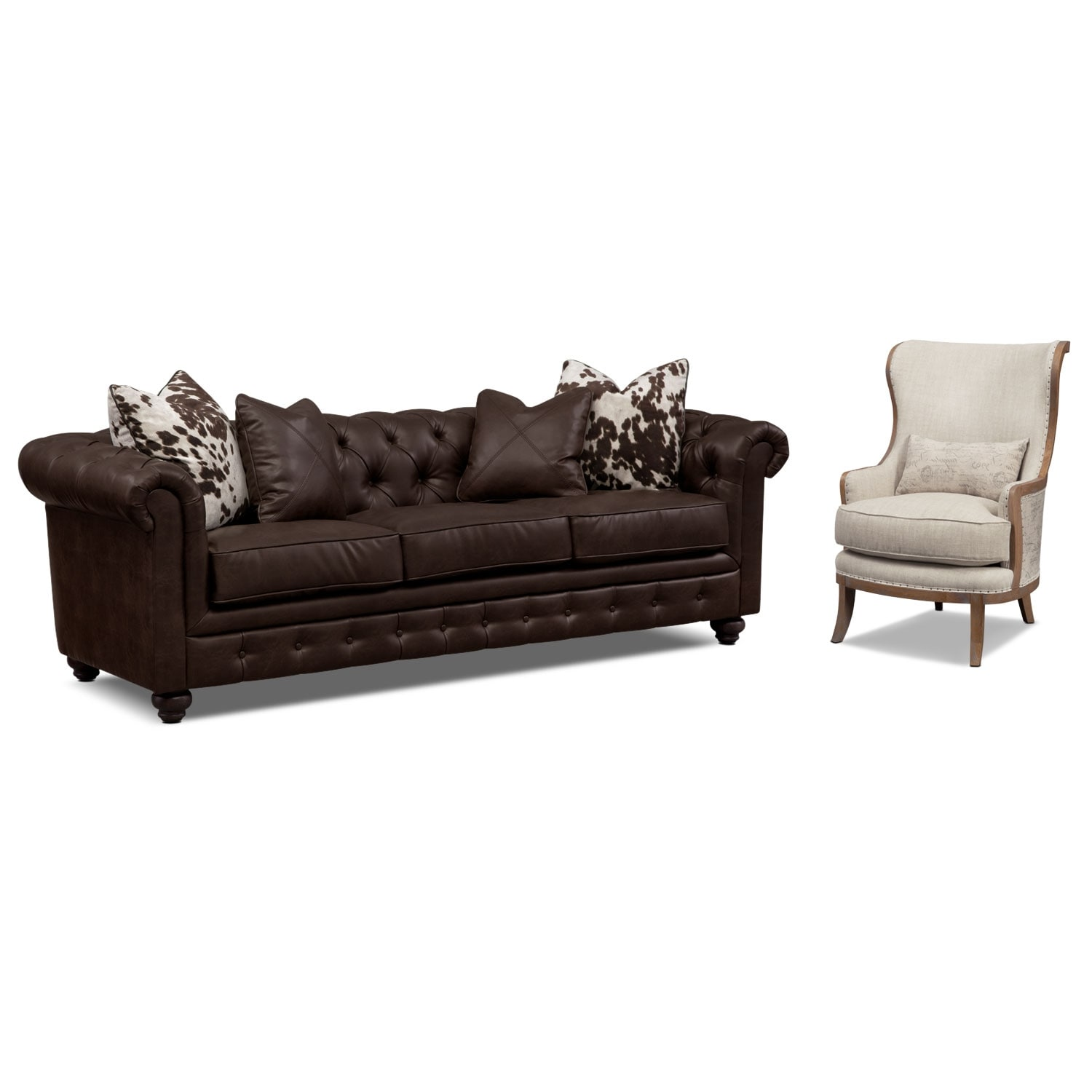 Living Room Furniture - Madeline Chocolate 2 Pc. Living Room w/ Accent Chair Set