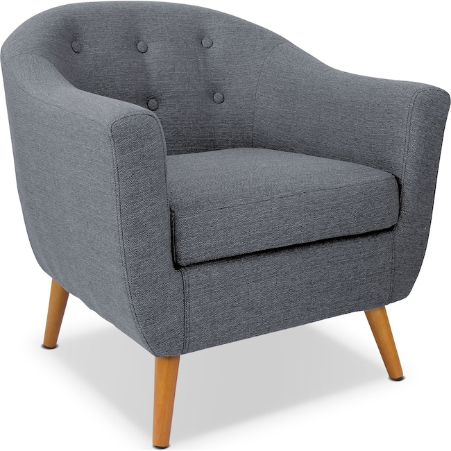 Living Room Furniture - Norman Accent Chair - Gray