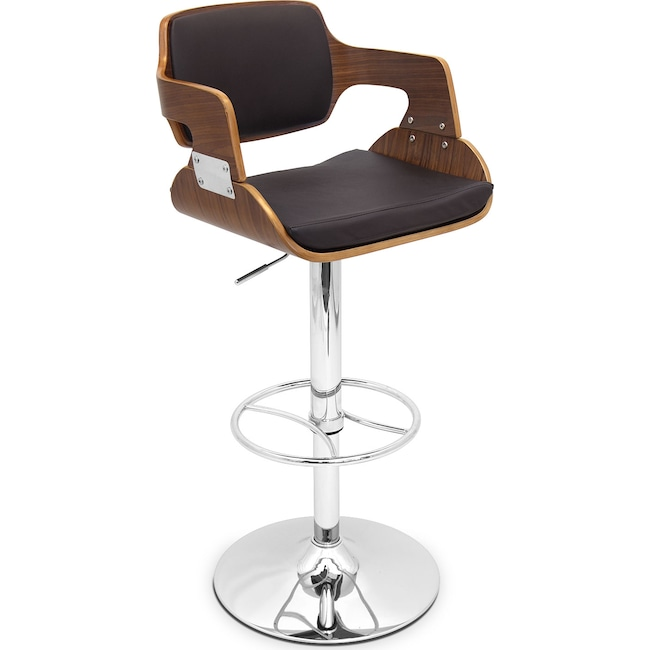 Accent and Occasional Furniture - Bari Adjustable Barstool - Walnut