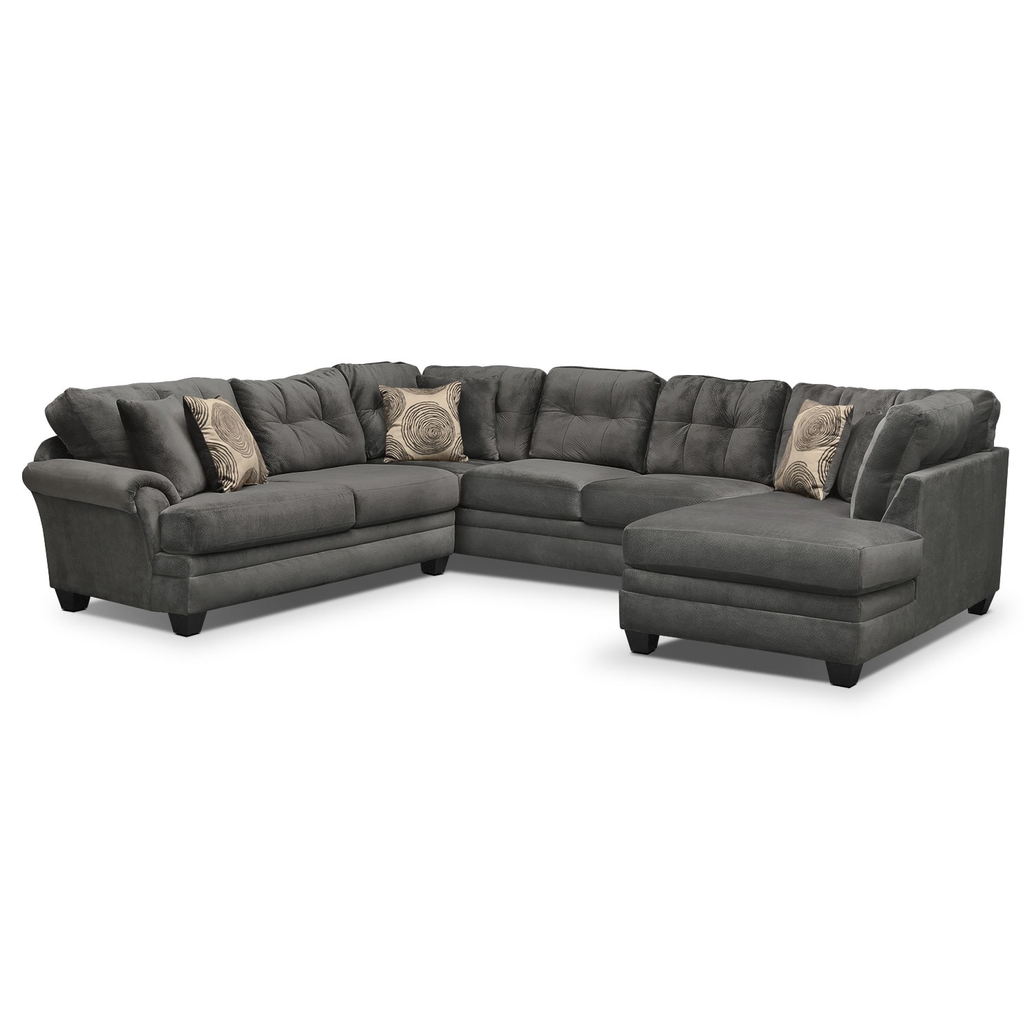 Cordelle 3 Piece Sectional With Right Facing Chaise   Gray