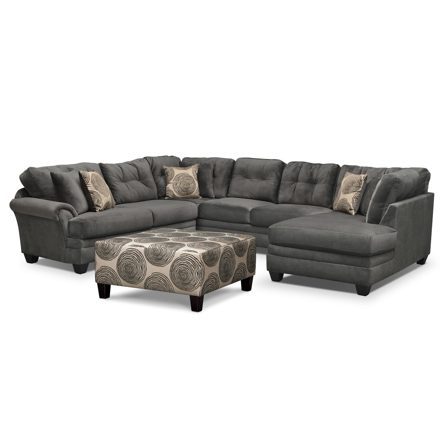 Living Room Furniture - Cordelle 3-Piece Sectional and Cocktail Ottoman Set - Gray