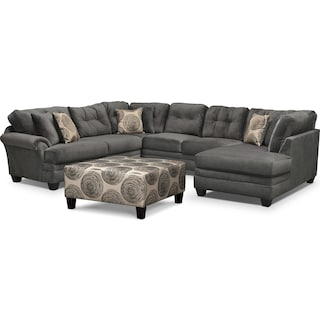 Cordelle 3-Piece Sectional with Right-Facing Chaise and Cocktail Ottoman Set - Gray