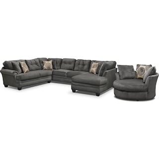 Cordelle 3-Piece Sectional with Right-Facing Chaise and Swivel Chair Set