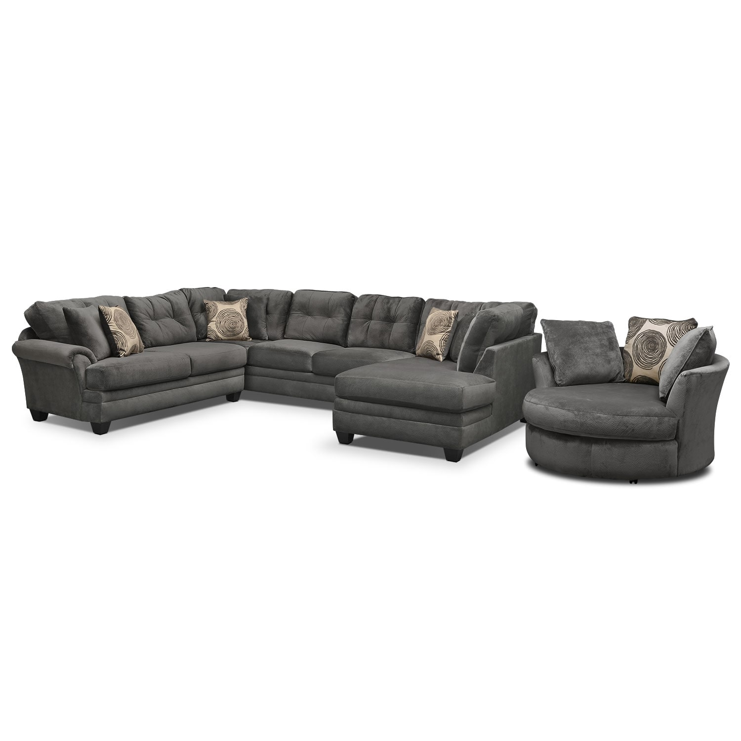 Cordelle 3 Piece Sectional With Right Facing Chaise And Swivel Chair Set    Gray