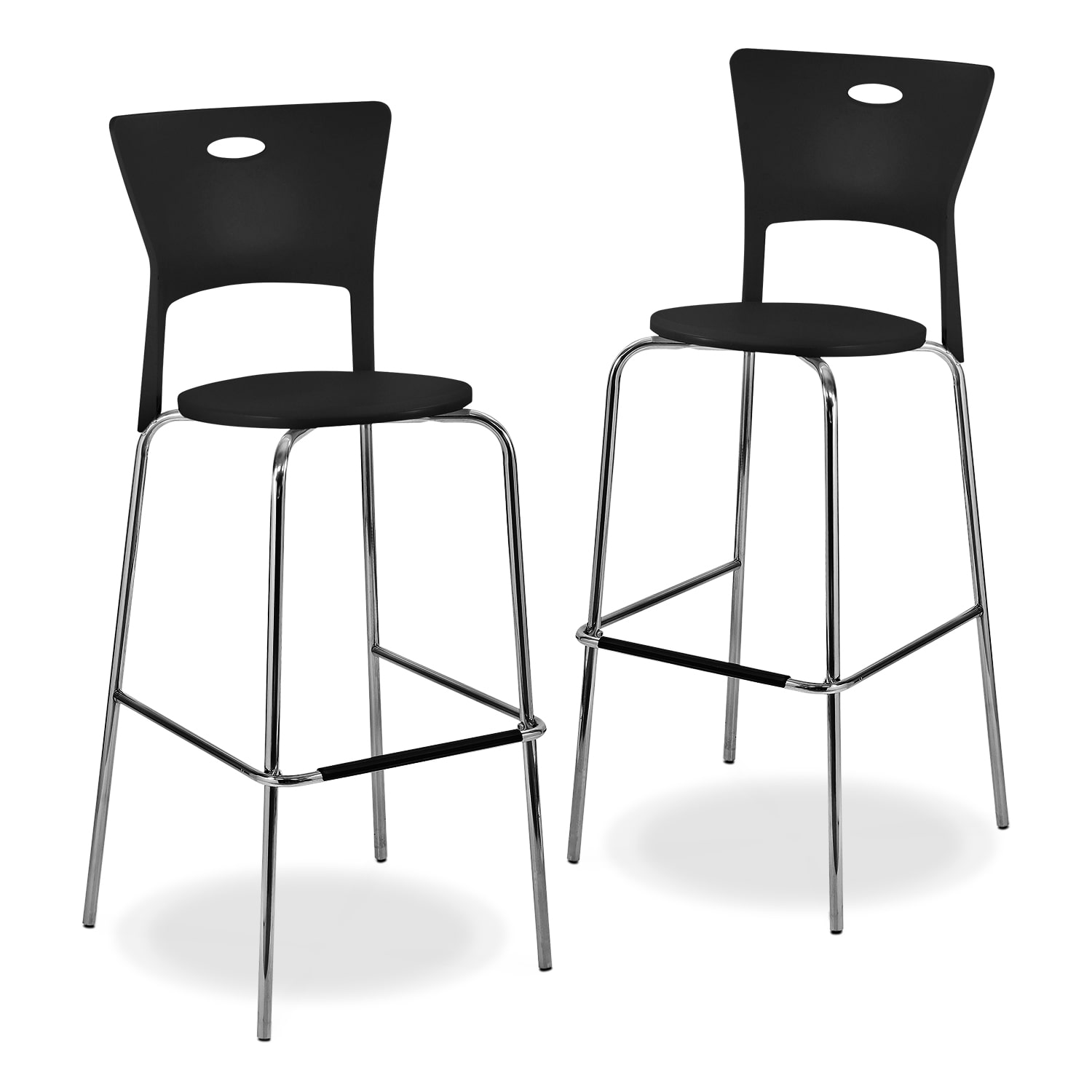 Accent and Occasional Furniture - Leo 2-Pack Barstools - Black