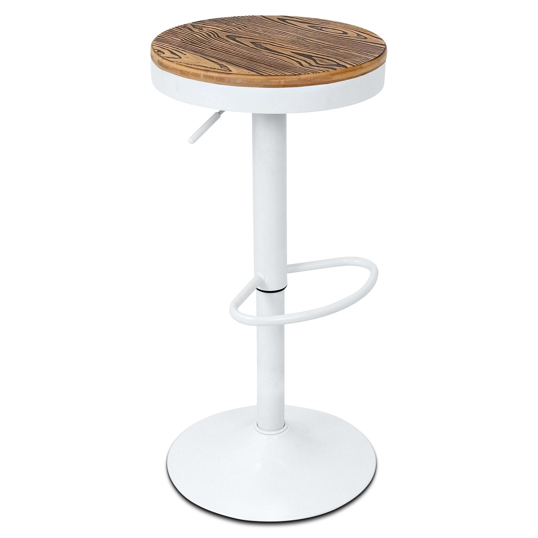 Rustic Adjustable Barstool - White