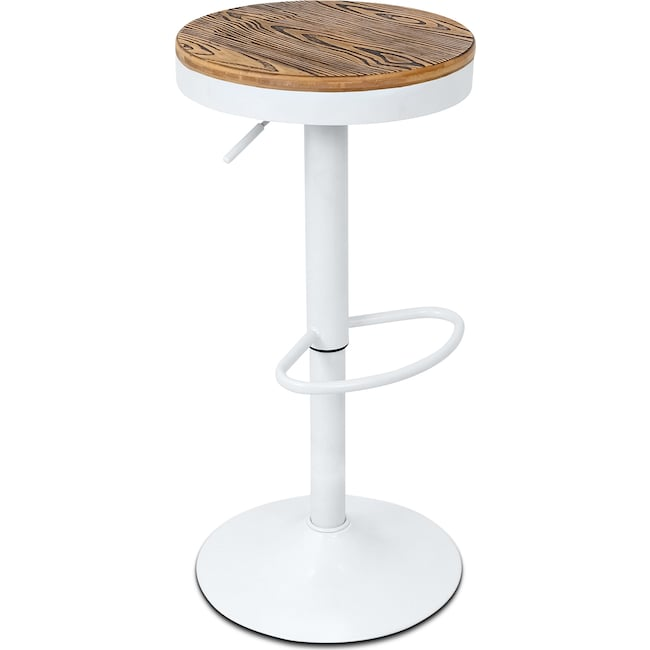 Dining Room Furniture - Rustic Adjustable Barstool - White