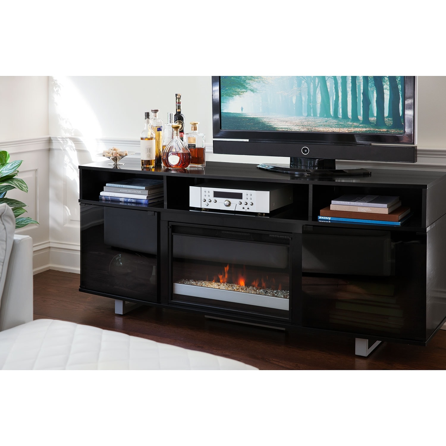 Pacer Contemporary Fireplace Tv Stand Black American