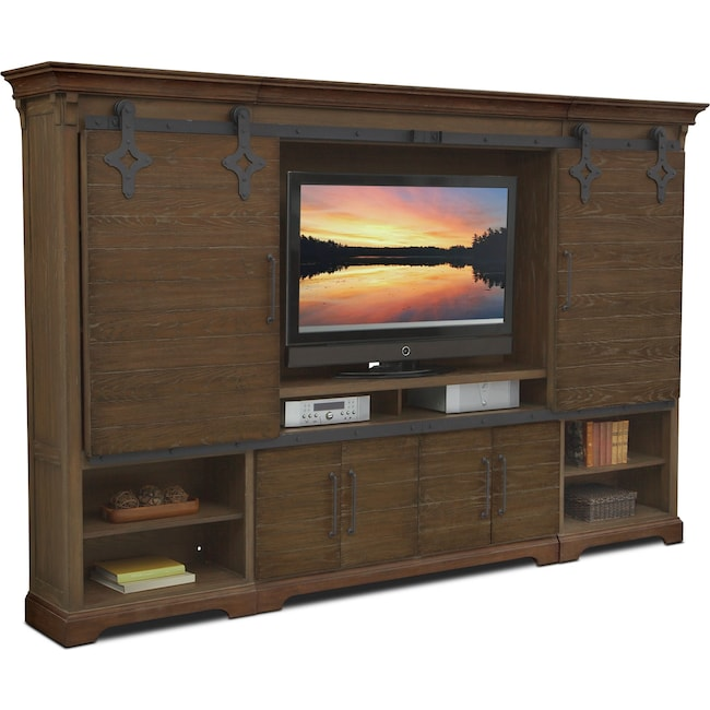 Entertainment Furniture - Union City Entertainment Wall Unit - Brown