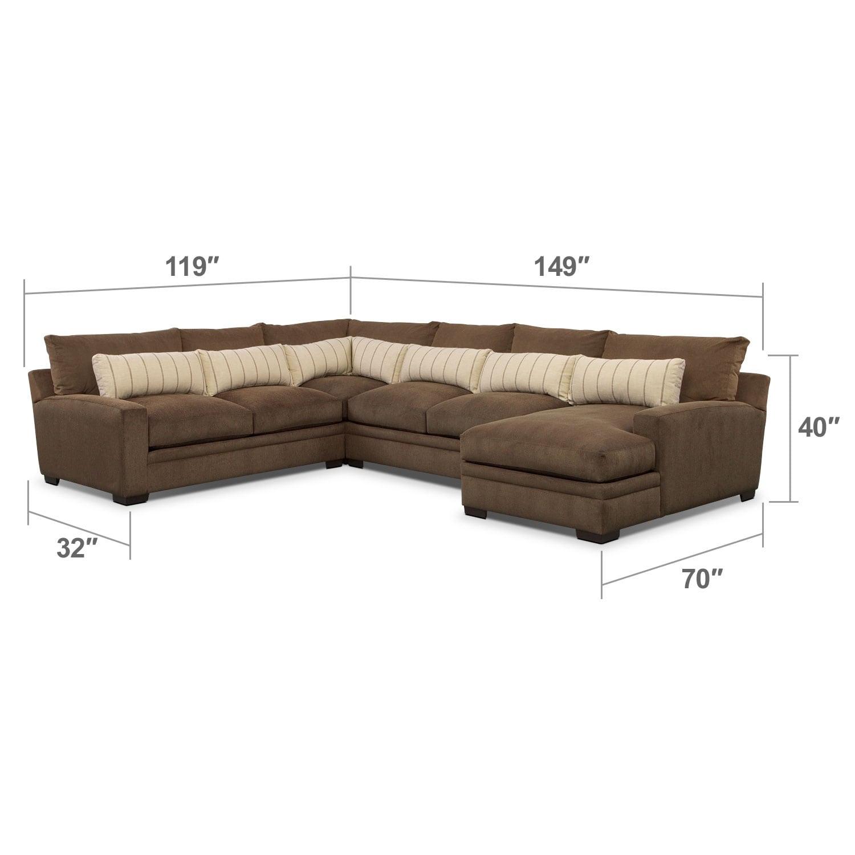 Living Room Furniture - Ventura Teak 4 Pc. Sectional