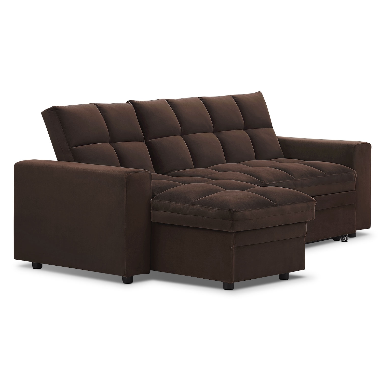 Metro chaise sofa bed with storage brown american for Brown sectionals with chaise
