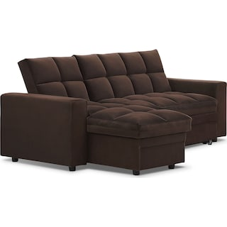 Metro Chaise Sofa Bed with Storage - Brown