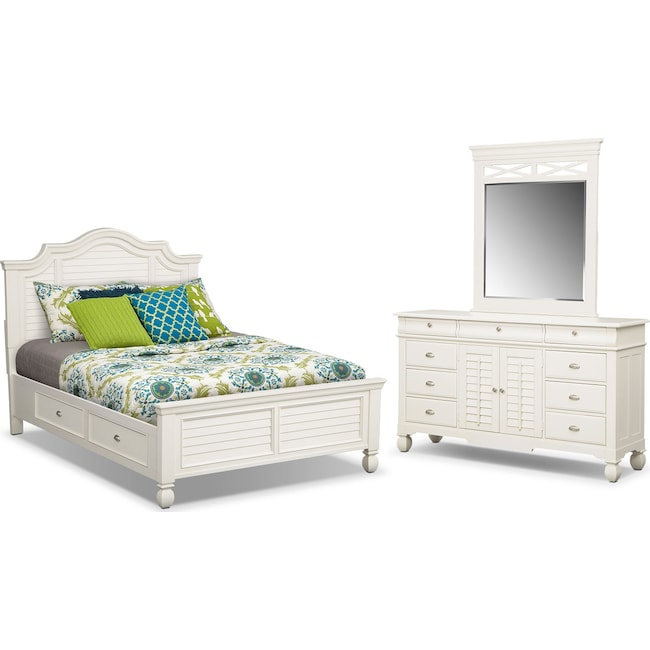 Bedroom Furniture - Plantation Cove 5-Piece Queen Storage Bedroom Set - White
