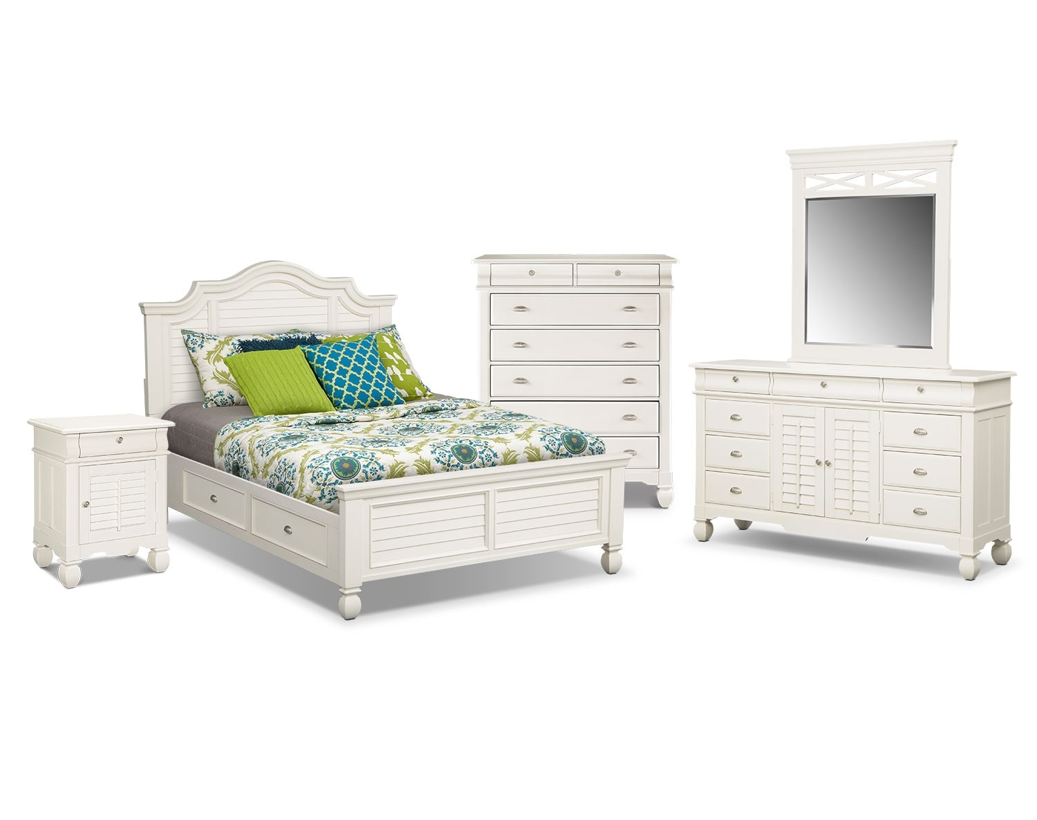 The Plantation Cove Storage Bedroom Collection - White