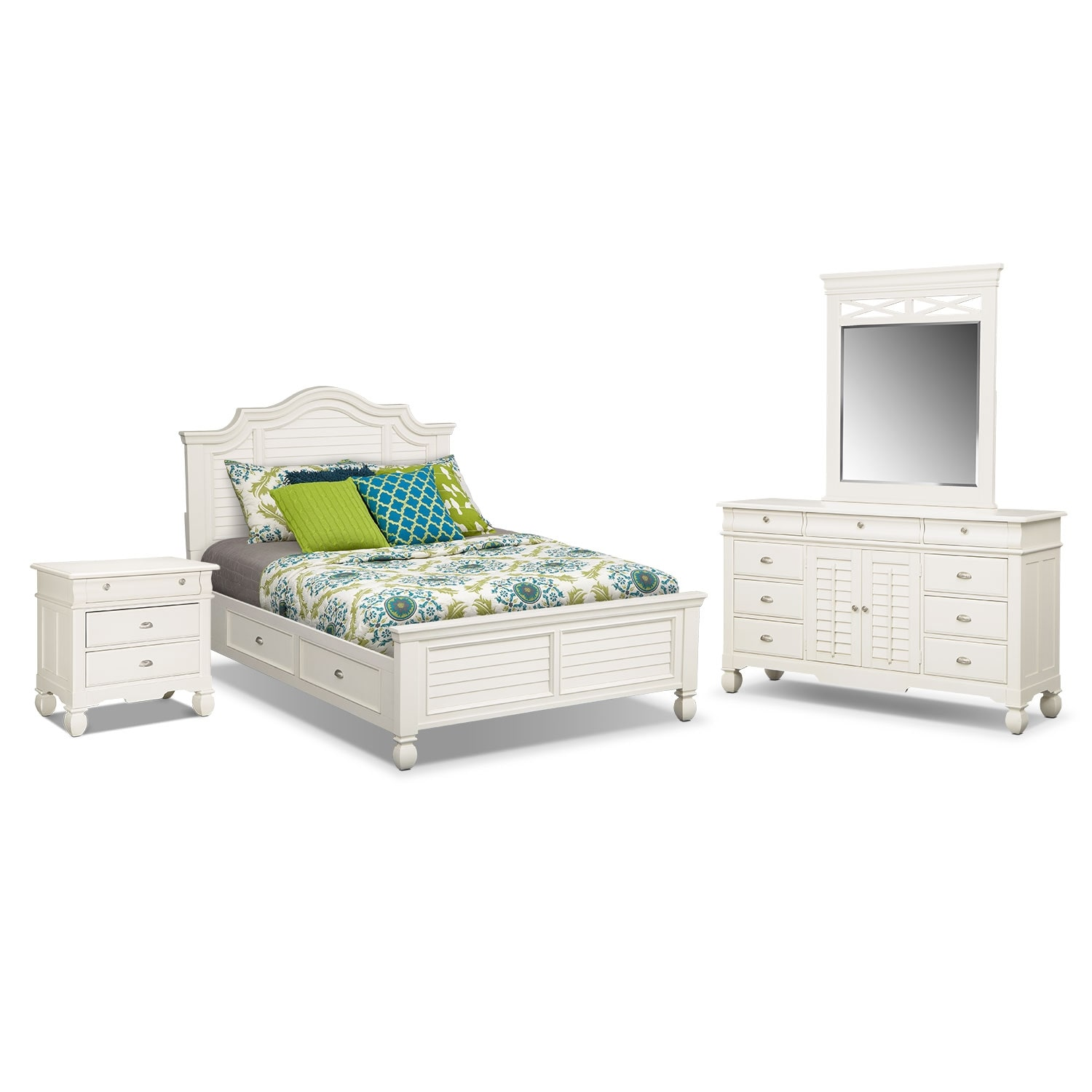 Bedroom Furniture - Plantation Cove White Storage 6 Pc. King Storage Bedroom (Alternate)
