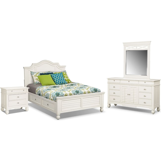 Bedroom Furniture - Plantation Cove 6-Piece Queen Storage Bedroom Set - White