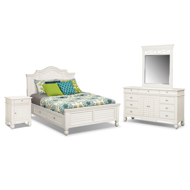 Bedroom Furniture - Plantation Cove 6-Piece King Storage Bedroom Set with Door Nightstand - White
