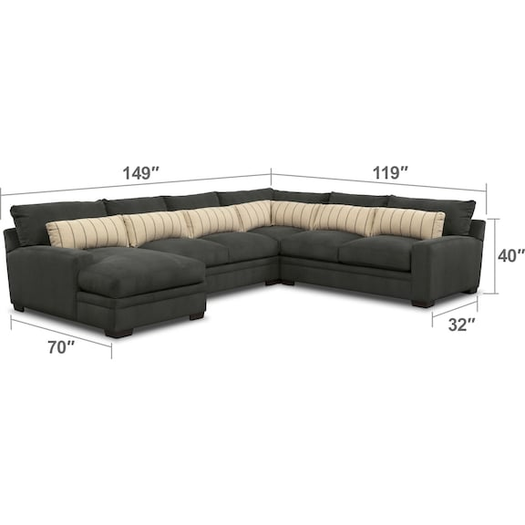 Living Room Furniture - Ventura 4-Piece Sectional with Left-Facing Chaise - Charcoal