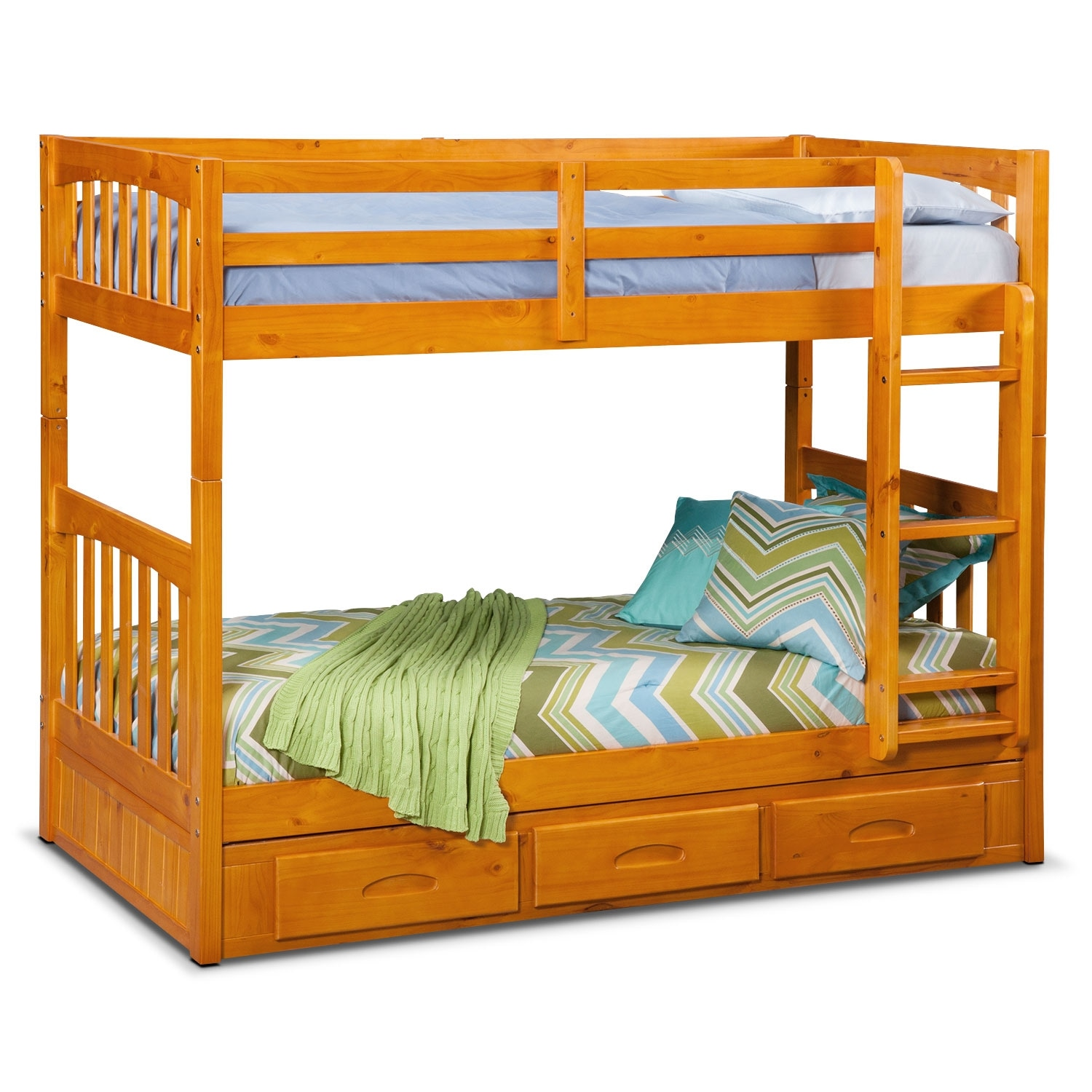 Details About White 3 Piece Storage Drawers Twin Bed Box: Ranger Twin Over Twin Storage Bunk Bed - Pine