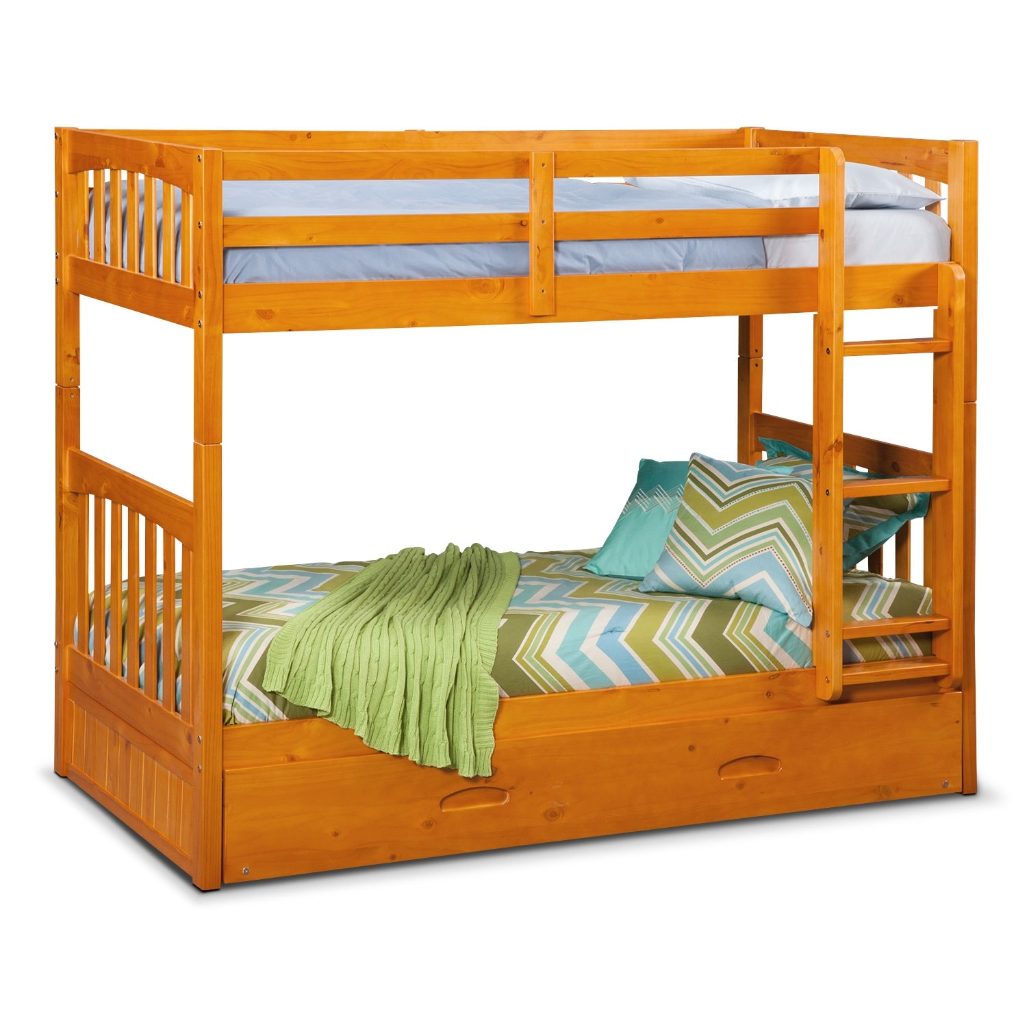 Kids Furniture - Ranger Pine Twin/Twin Bunk Bed w/ Trundle