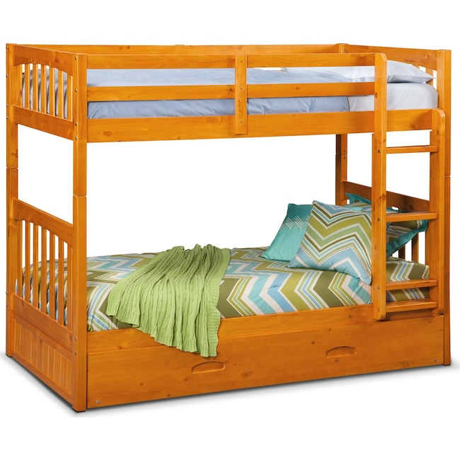 Kids Furniture - Ranger Twin over Twin Bunk Bed with Trundle - Pine