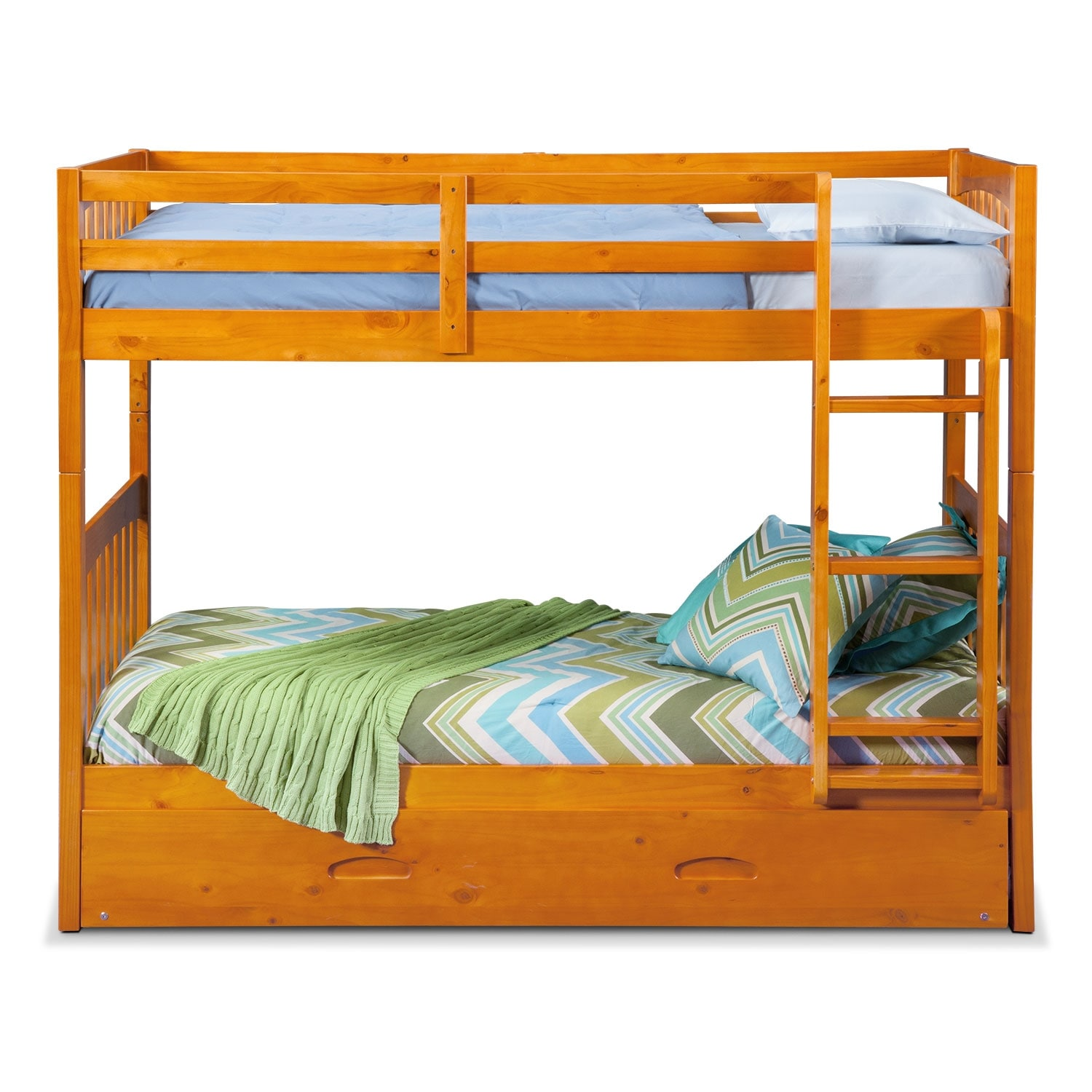 Ranger Twin Over Twin Bunk Bed With Trundle Pine