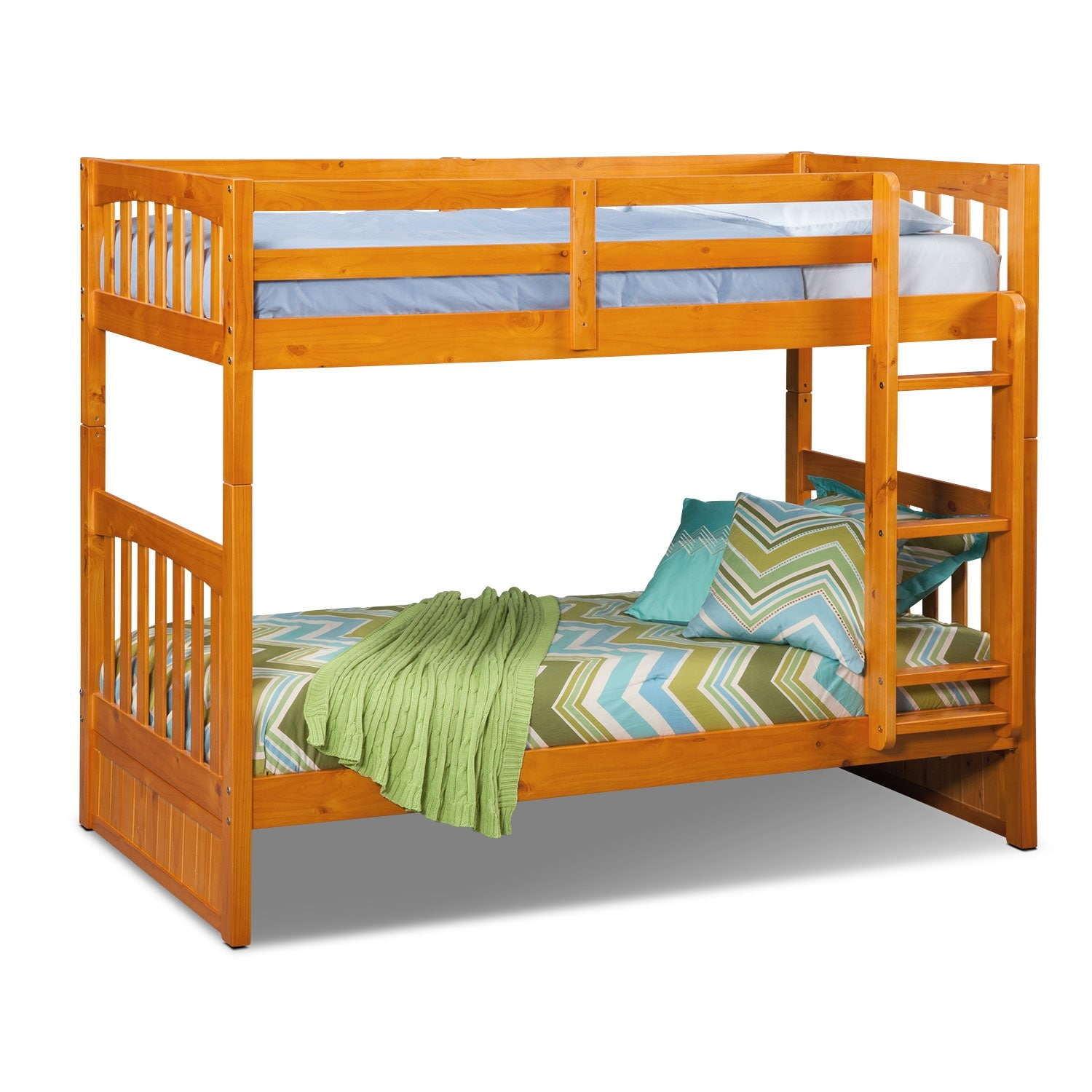 Kids Furniture - Ranger Twin over Twin Bunk Bed - Pine