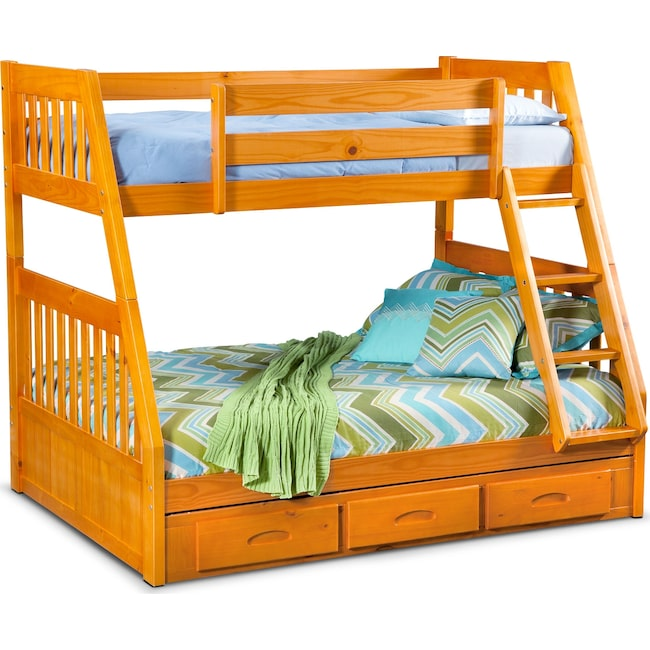 Kids Furniture - Ranger Twin over Full Storage Bunk Bed