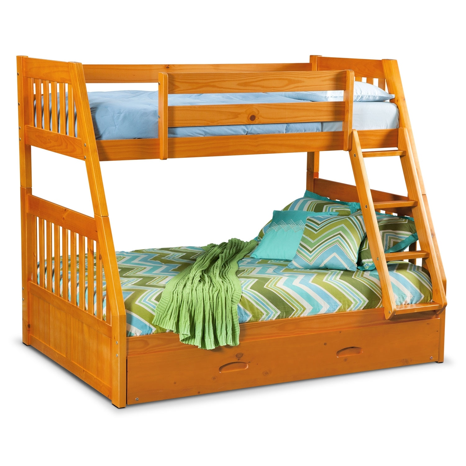 Ranger Pine Twin/Full Bunk Bed w/ Trundle