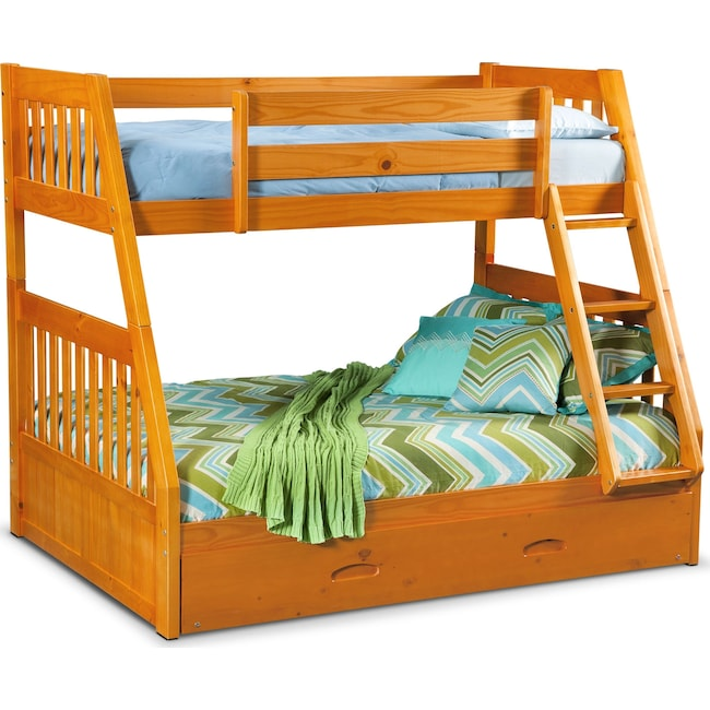 Kids Furniture - Ranger Twin over Full Bunk Bed with Twin Trundle  - Pine