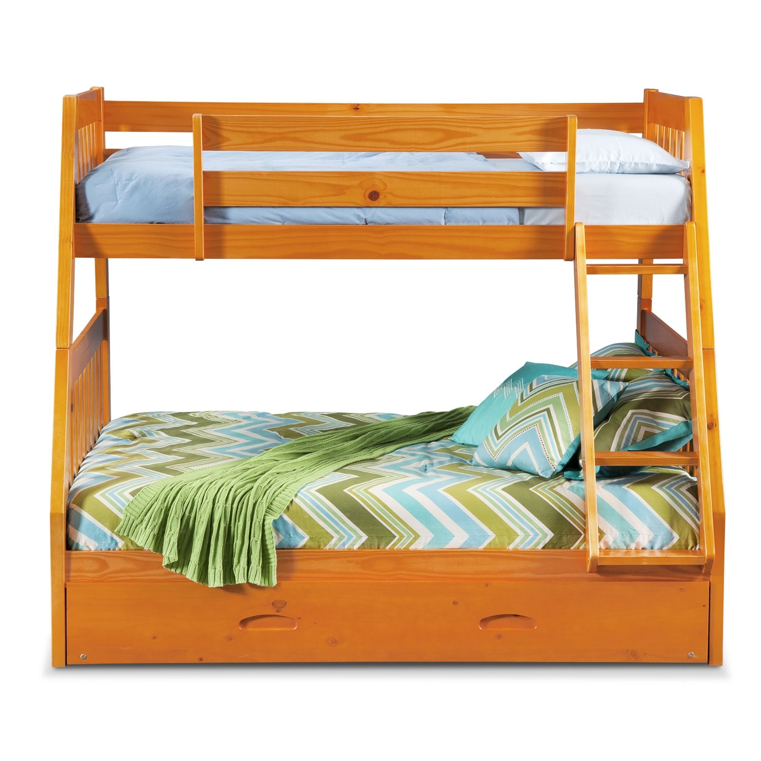 ranger twin over full bunk bed with twin trundle pine american signature furniture. Black Bedroom Furniture Sets. Home Design Ideas