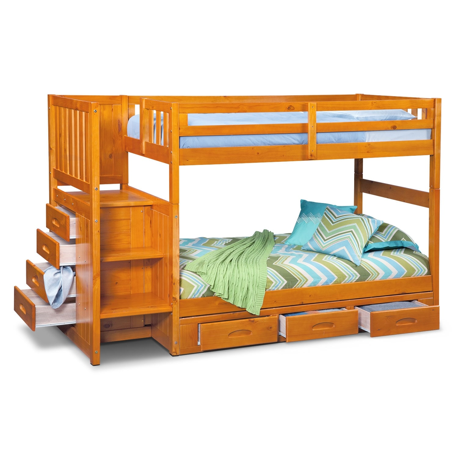 Ranger twin over twin bunk bed with storage stairs underbed drawers american signature furniture - Kids twin beds with storage drawers ...